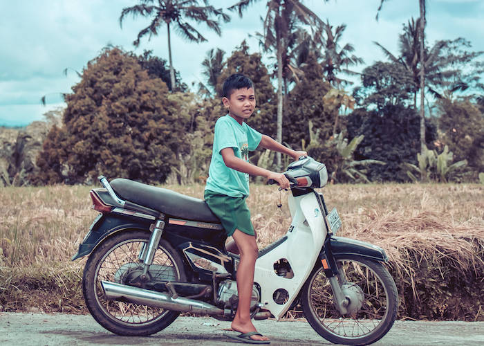 Vietnamese boy on road