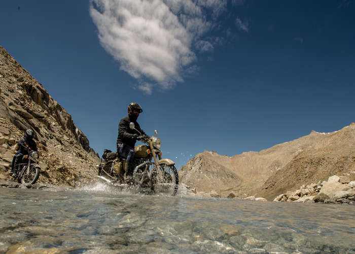 crossing lake on royal enfield