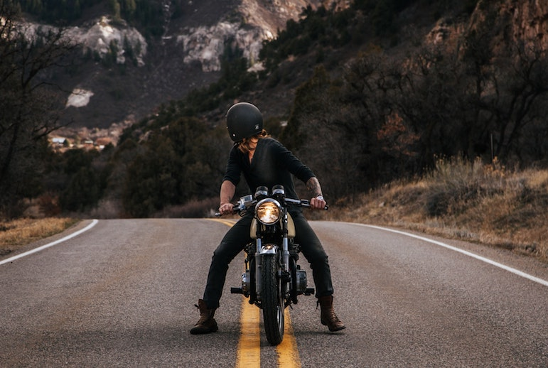 posing on bike