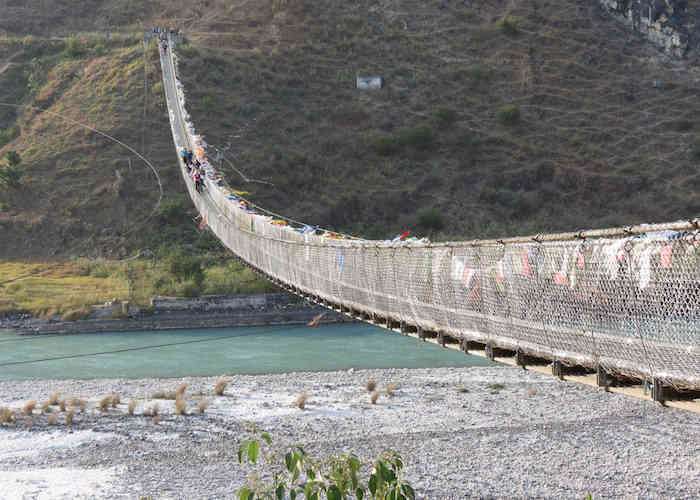 bridge over river in bhutan
